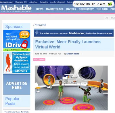 Screenshot mashable Artikel über meez virtuelle Welt mit dem weblin Publisher