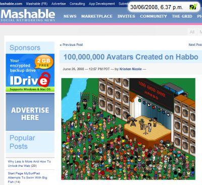 Screenshot Habbo News on mashable; klick to get there.