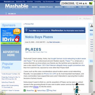 Screenshot by weblin Publisher belonging to Plazes, Nokia, published by mashable