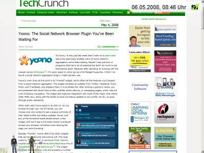 Techcrunch über yoono